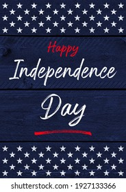 4th of July Independence Day background on wood