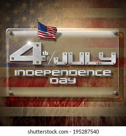 4th of July - Independence Day / Glass or plexiglass plaque on a wall with US flags and phrase: 4th of July - Independence Day