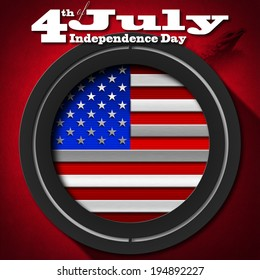 """4th of July - Independence Day / US flag and eagle on red velvet background with phrase """"4th of July - Independence Day"""""""