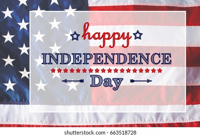 4th of July message on flag background