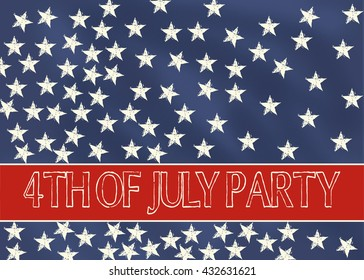 4th of July Party Invitation: blue chalkboard