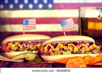 4th of July Picnic Table With Hot Dogs