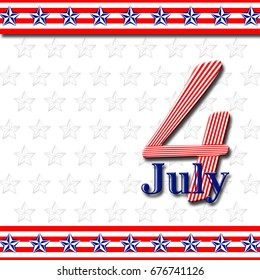 4th of July, starts and stripes, USA, background, blank space, copy space, white background.