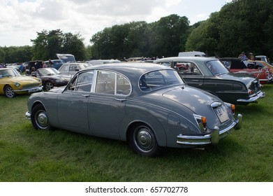 4th June 2017- A 2.4 litre Jaguar Mk 2 being displayed at a classic car show in the grounds of Scolton Manor near Haverfordwest, Pembrokeshire, Wales, UK.