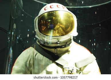 4th of May 2015 - Scene from the Memorial Museum of Cosmonautics with close up of a cosmonaut suit, Moscow, Russia
