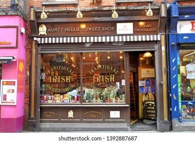 4th May 2019, Dublin, Ireland.  Aunty Nellie's Sweet Shop in Temple Bar, Dublin City Centre.
