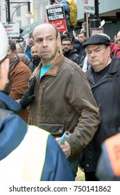 4th November 2017, London, United Kingdom:-Unidentified protester pushed back by police at a pro Palisine rally