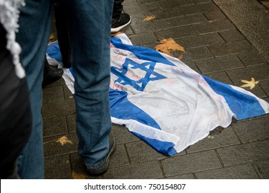 4th November 2017, London, United Kingdom:-The Isreali flag on the ground at a pro palestine rally