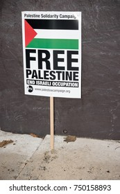 4th November 2017, London, United Kingdom:- Pro Palestine placards at a rally against the 1917 Balfour declaration