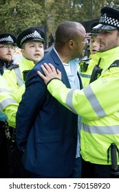 4th November 2017, London, United Kingdom:-Unidentified pro Israeli man being arrested near Parliment Square near a pro Palestine rally
