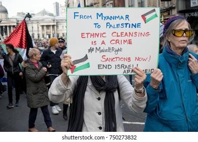 4th November 2017, London, United Kingdom:-Pro Palestine protesters march infront of Pro Israeli marchers