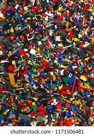 4th September 2018 Finland, Espoo. Huge amount of different Lego bricks on floor.