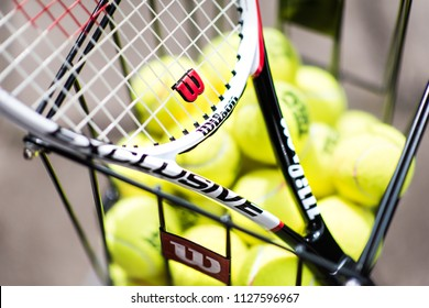 4th-July-2018 - Stoke on Trent - Wilson Tennis Racket and basket with lots of tennis balls ready for practice