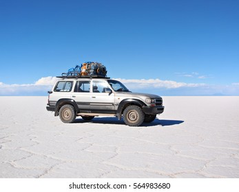 4wd expedition vehicle used for a multiple day tourist tour in the Atacama desert in Bolivia on the Salar de Uyuni.