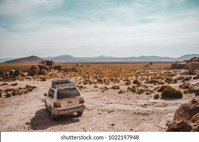 4x4 faces barren plains of the desert in a south Bolivia national park