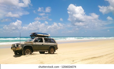 4x4 Offroad vehicle drives at the beach