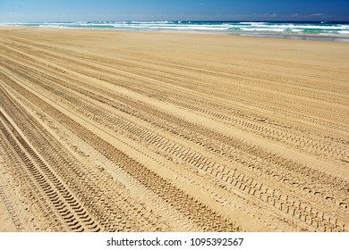 4x4 trucks wheels' footprints at Fraser island beach sand. Ocean in background. Queensland, Australia.