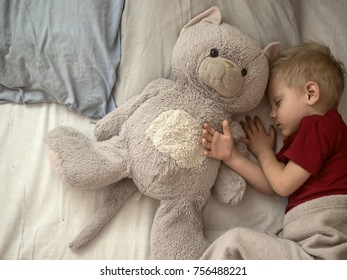 4-years-old Caucasian boy sleeping in bed with favorite toy - big plush cat