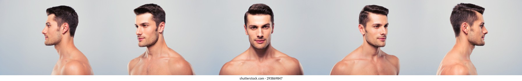 5 angle view of a young handsome man face