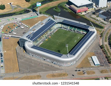 5 August 2018, Den haag, Holland. Aerial view of ADO Den Haag soccer stadium, the Cars Jeans Stadion during a fan day in the dry summer of 2018.