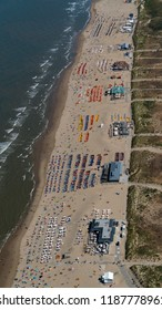 5 August 2018, Noordwijk aan Zee, Holland. Aerial view of a crowded beach on a sunny, hot day at the Dutch coast.