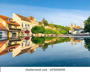 5 AUGUST 2019 - TRENCIANSKE TEPLICE, SLOVAKIA: Cityscape of Trencianske Teplice with water reflections, famous thermal health spa town, Slovakia