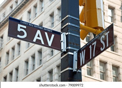 5 avenue sign in New York City close-up view