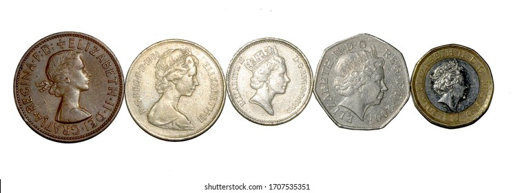 5 coins showing the five different portraits of Queen Elizabeth II on different British Coins: An old penny, an old 10 pence, a new 10 pence, 50 pence and new pound (from left to right)