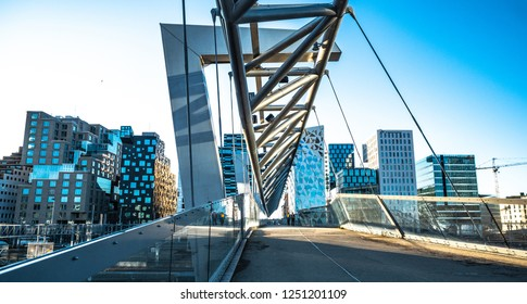 5 December 2018, Oslo, Norway, Beautiful modern buildings, Oslo's Barcode district rises from the fjord like an urban and super trendy in Norway.