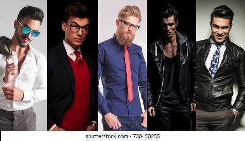 5 different men posing in studio, collage image
