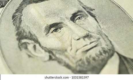 5 dollar bill with President Abraham Lincoln. The United States five dollar bill