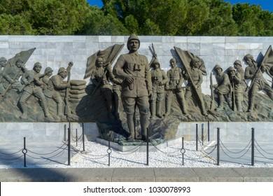 5 Feb 2018, Ataturk statue in the Canakkale (Dardanelles) martyrs memorial in Gallipoli, Canakkale, Turkey