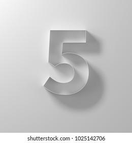5, five,  white paper number, 3d illustration