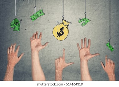 5 Hands in the air tryong to reach the banknotes and a money-bag, hanging on the hooks. Easy money. Temptation and greed. Fraud and corruption.