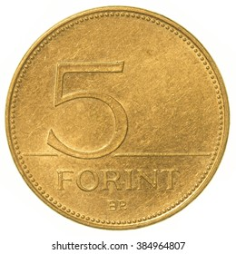 5 Hungarian forint coin isolated on white background