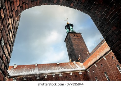 5 January  2016.Stockholm.The courtyard of the Stockholm city hall in winter, Sweden.