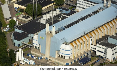 5 June 2016, Nijmegen, Holland. Aerial view of production hall of factory NXP Semiconductors. The factory has been taken over by American company Qualcomm and is now world's no. 4 producer of chips.