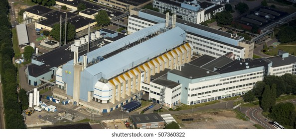 5 June 2016, Nijmegen, Netherlands. Aerial view of factory NXP Semiconductors. The factory has recently been taken over by American company Qualcomm and is now one of world's top 5 producer of chips.