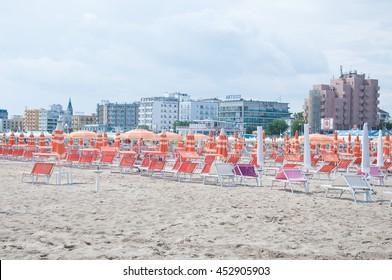 5 june 2016-rimini-italy-the beautiful Rimini beach view on a sunny day,italy