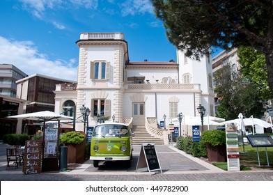 5 june 2016-rimini-italy-entrance of a restaurant located in Viale Amerigo Vespucci in Rimini