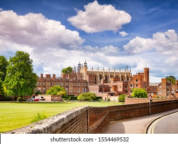 5 June 2019: Windsor, UK - Eton College, The UK's most famous public school, on a fine summer day with blue sky.