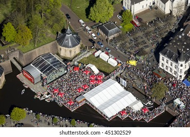 5 May 2016, Breda, Holland. Aerial view of pop festival Spanjaardsgat in the harbour of Breda on a 5 May celebration day.