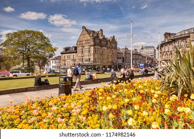 5 May 2016: Harrogate, North Yorkshire, UK - A view of Harrogate on a bright spring day, with Betty's Tea Rooms in the background.
