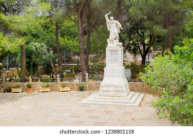 5 May 2018 A statue of the ancient  Bible prophet Elijah erected at the visitors centre on top of Mount Carmel in lower Galilee Israel.