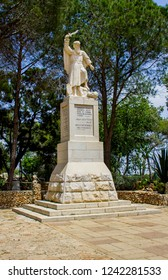 5 May 2018 A statue of the ancient Elijah Bible propher Elijah erected at the visitors centre on top of Mount Carmel in lower Galilee Israel.