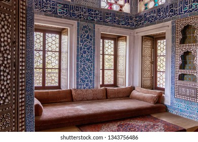 5 May 2018 Topkapi Palace, Istanbul, Turkey: Kiosk Baghdad in the fourth courtyard. A stunning interior with beautiful stained glass window. The interior of Topkapi. One of the main landmarks.