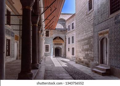 5 May 2018 Topkapi Palace, Istanbul, Turkey: Harem of Topkapi Palace. Courtyard with columns.
