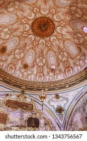 5 May 2018 Topkapi Palace, Istanbul, Turkey: Interior Imperial Council Hall of Topkapi palace. Interior detail view from Topkapi. Magnificent century. Beautiful exquisite rich interior.