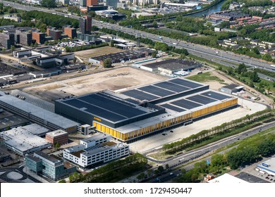 5 May 2020, Nieuwegein, Holland. Aerial view of construction site of Distribution Center Jumbo Supermarket in the Utrecht area. The new DC will open later this year. The roof is full with solar panels