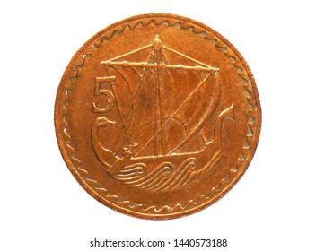 5 Mils (sailing ship) coin, Bank of Cyprus. Obverse, issue 1963